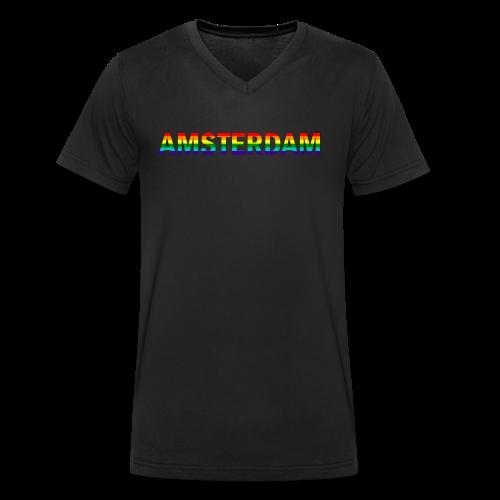 Amsterdam in gay pride rainbow kleuren - Mannen bio T-shirt met V-hals van Stanley & Stella