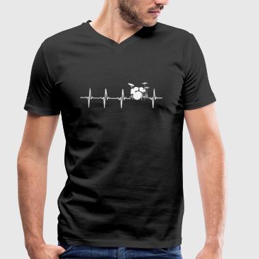 Trummor - hjärta motiv - Ekologisk T-shirt med V-ringning herr från Stanley & Stella