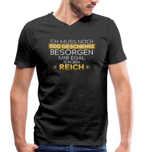 Mir egal,ich bin reich   Goldene Weihnachtsedition - Männer Bio-T-Shirt mit V-Ausschnitt von Stanley & Stella
