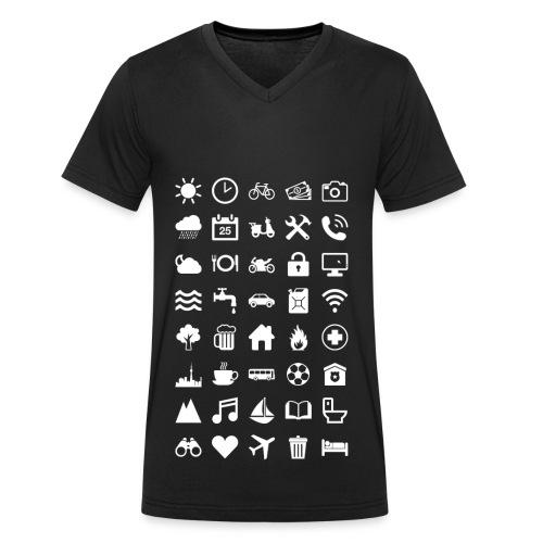 Travel Icons (white) - Männer Bio-T-Shirt mit V-Ausschnitt von Stanley & Stella