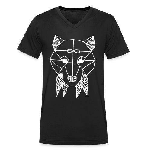 David Pucher Art Wolf - Männer Bio-T-Shirt mit V-Ausschnitt von Stanley & Stella