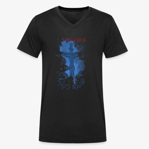 I believe / wierzę - Ekologiczna koszulka męska z dekoltem w serek Stanley & Stella