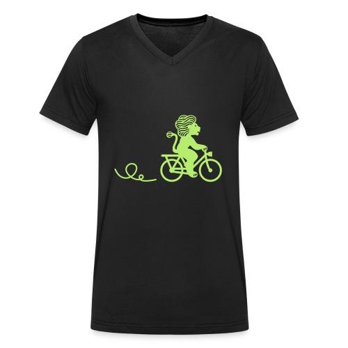 Züri-Leu beim Velofahren ohne Text - Männer Bio-T-Shirt mit V-Ausschnitt von Stanley & Stella