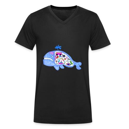 ballena de cosas recortado prueba - Camiseta ecológica hombre con cuello de pico de Stanley & Stella