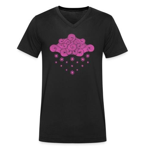 nuage rose et flocons vacances d'hiver - T-shirt bio col V Stanley & Stella Homme