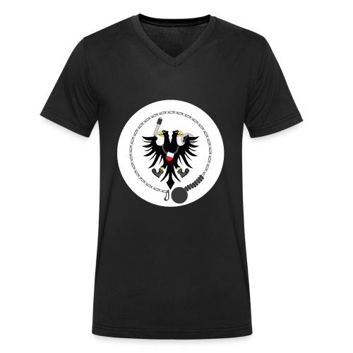 Hanseatic Jugger Logo weiß - Männer Bio-T-Shirt mit V-Ausschnitt von Stanley & Stella