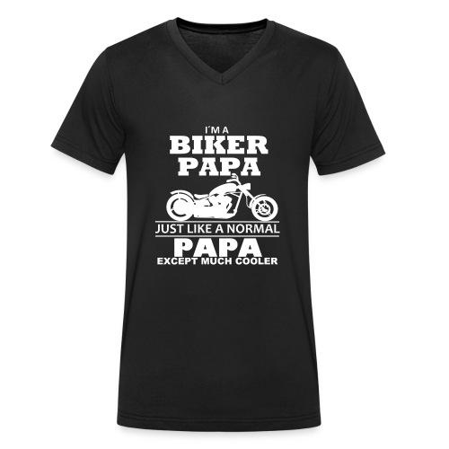 BIKER PAPA - Motorrad Shirt - Biker Shirt 2018 - Männer Bio-T-Shirt mit V-Ausschnitt von Stanley & Stella