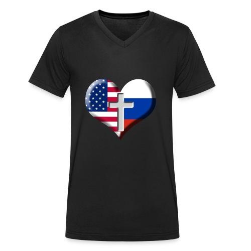 USA and Russia Heart with Cross - Økologisk T-skjorte med V-hals for menn fra Stanley & Stella