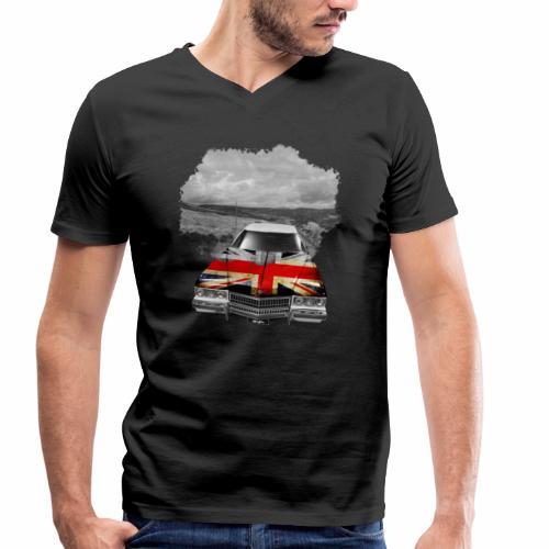 Oldtimer with British flagg. - Männer Bio-T-Shirt mit V-Ausschnitt von Stanley & Stella