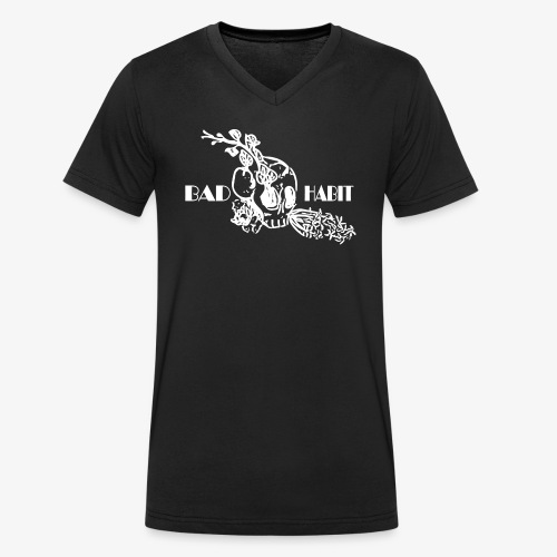 Bad Habit Flowers - Men's Organic V-Neck T-Shirt by Stanley & Stella