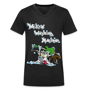 Wicked Washing Machine Cartoon and Logo - Mannen bio T-shirt met V-hals van Stanley & Stella