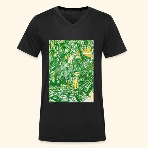 Children in a green garden - Stanley & Stellan naisten luomupikeepaita