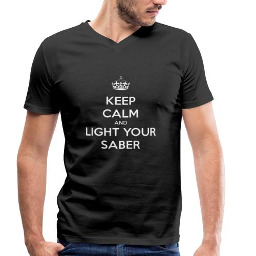 Keep calm and light your saber - T-shirt ecologica da uomo con scollo a V di Stanley & Stella