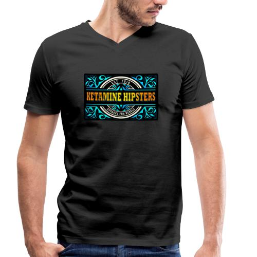 Black Vintage - KETAMINE HIPSTERS Apparel - Men's Organic V-Neck T-Shirt by Stanley & Stella