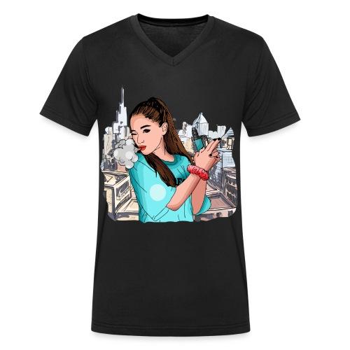 Vapegirl dampft in cooler Pose / Vaping / Vape - Männer Bio-T-Shirt mit V-Ausschnitt von Stanley & Stella