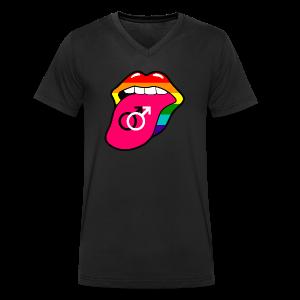 Gay pride regenboog mond en tong met homo symbool - Mannen bio T-shirt met V-hals van Stanley & Stella