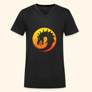 Flaming Dragon Retro - Men's Organic V-Neck T-Shirt by Stanley & Stella