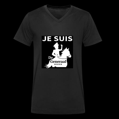 JE SUIS De Generaal (wit op zwart) - Mannen bio T-shirt met V-hals van Stanley & Stella