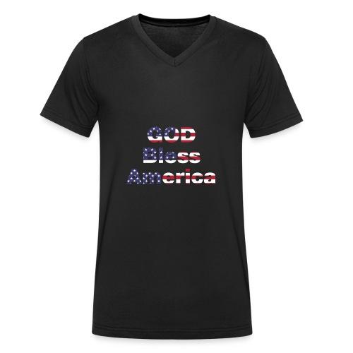 god bless america - Men's Organic V-Neck T-Shirt by Stanley & Stella