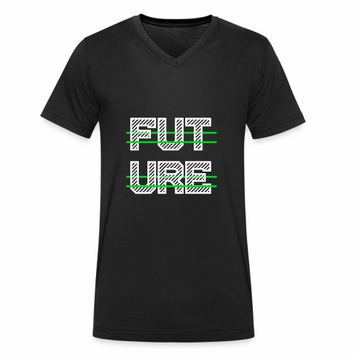 Future Clothing - Green Strips (White Text) - Men's Organic V-Neck T-Shirt by Stanley & Stella