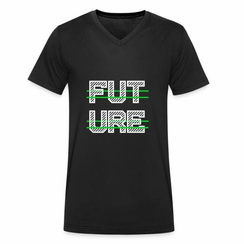 Future Clothing - Green Strips (White Text) - Men's Organic V-Neck T-Shirt by Stanley & Stella