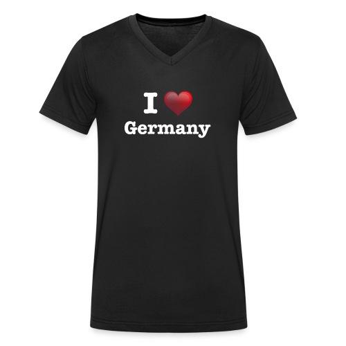 I Love Germany das Design für Deutschland Fans - Männer Bio-T-Shirt mit V-Ausschnitt von Stanley & Stella