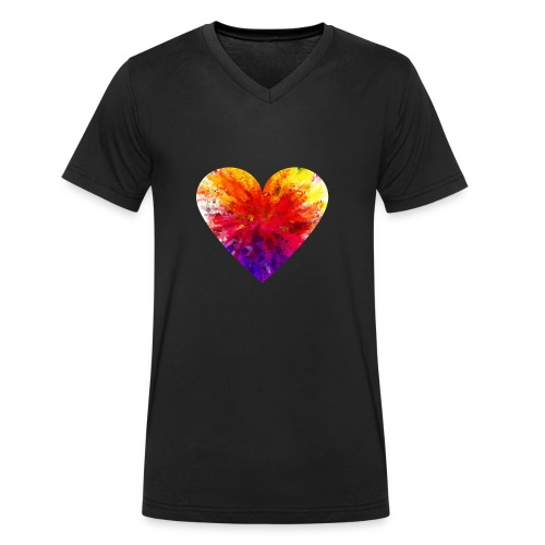 Valentines Day Tee Shirt - Coloured Rainbow Heart - Men's Organic V-Neck T-Shirt by Stanley & Stella