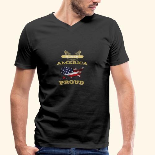 4 July, America Proud - Männer Bio-T-Shirt mit V-Ausschnitt von Stanley & Stella