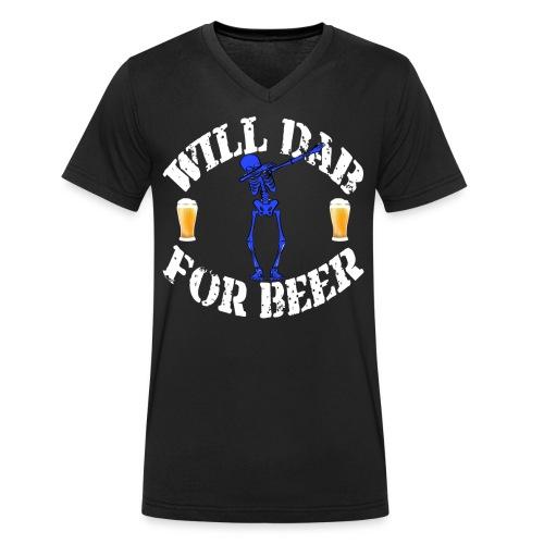 Funny Halloween Blue Skeleton Will For Beer. Beer Lover Gift - Men's Organic V-Neck T-Shirt by Stanley & Stella
