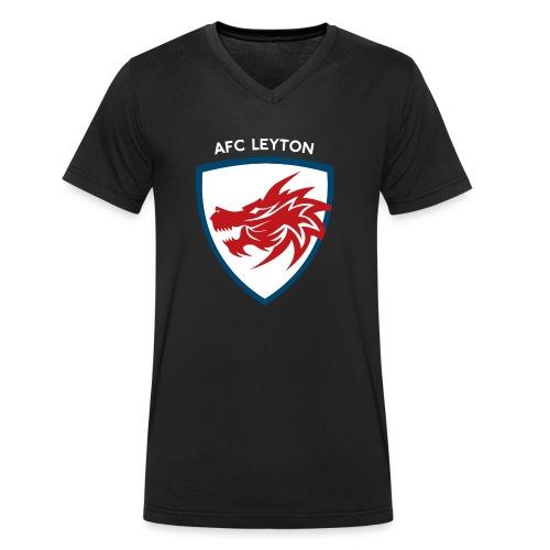 AFC Leyton Logo (White) - Men's Organic V-Neck T-Shirt by Stanley & Stella