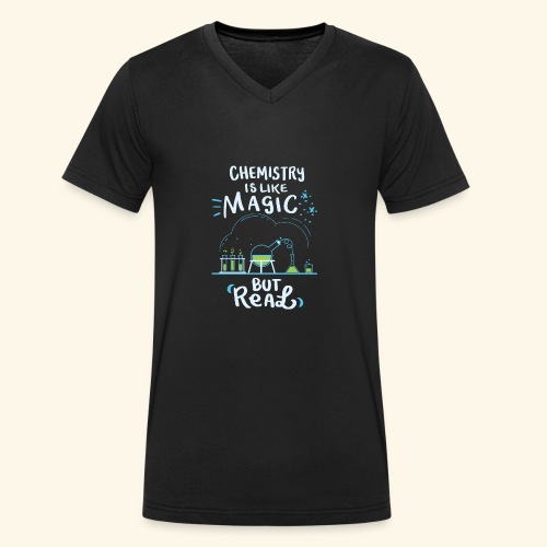 Chemistry is Like Magic But Real Chemiker Shirt - Männer Bio-T-Shirt mit V-Ausschnitt von Stanley & Stella