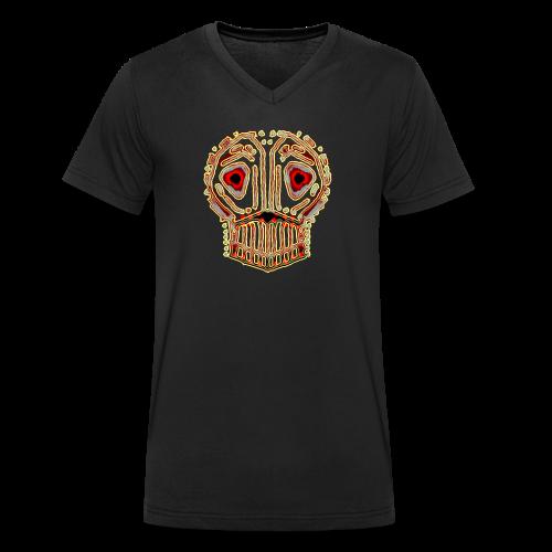 död skalle liknar urtida läskig kultur konst - Ekologisk T-shirt med V-ringning herr från Stanley & Stella