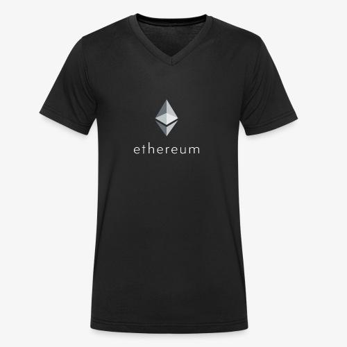 Ethereum Logo (Invers) - Männer Bio-T-Shirt mit V-Ausschnitt von Stanley & Stella