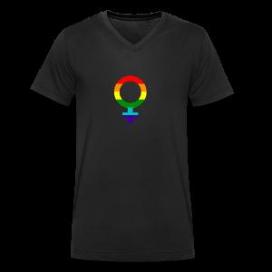 Gay pride regenboog vrouwen symbool - Mannen bio T-shirt met V-hals van Stanley & Stella