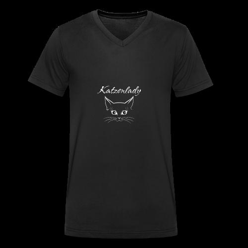 Katzen T-Shirt - Katzenlady - Männer Bio-T-Shirt mit V-Ausschnitt von Stanley & Stella