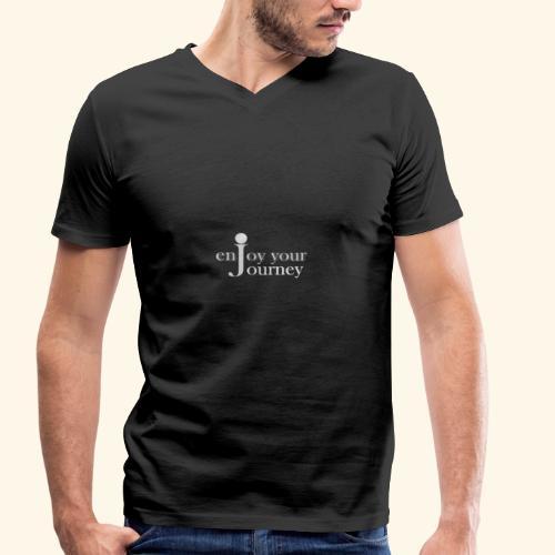 enjoy your journey Logo - weiß - Männer Bio-T-Shirt mit V-Ausschnitt von Stanley & Stella