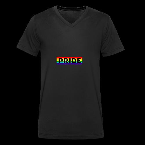Gay pride rainbow vlag met de tekst Pride - Mannen bio T-shirt met V-hals van Stanley & Stella
