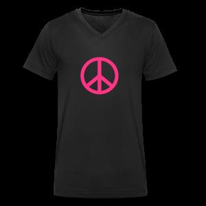 Gay pride peace symbool in roze kleur - Mannen bio T-shirt met V-hals van Stanley & Stella