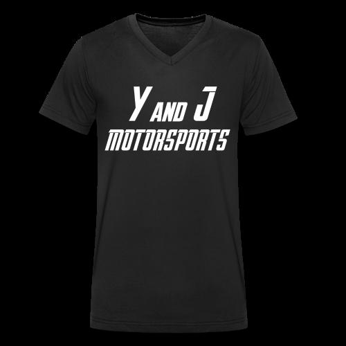 Y and J Motorsports Logo Weiß - Männer Bio-T-Shirt mit V-Ausschnitt von Stanley & Stella