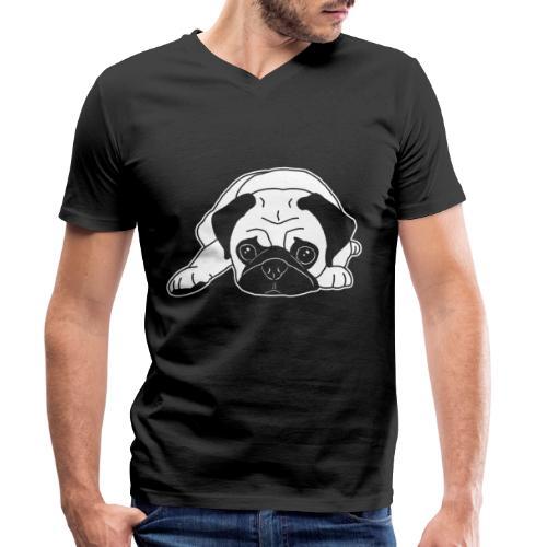 Mops, Hund, Hunderasse, Geschenkidee, süß, Comic - Männer Bio-T-Shirt mit V-Ausschnitt von Stanley & Stella