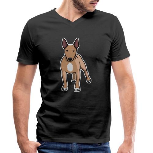 Bullterrier, Hund, Comic - Männer Bio-T-Shirt mit V-Ausschnitt von Stanley & Stella