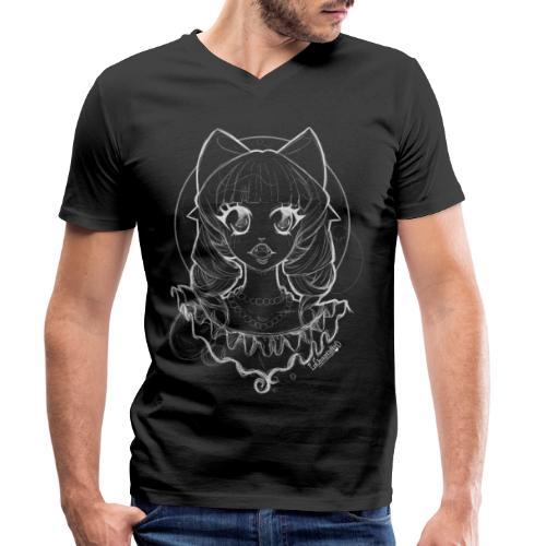 Vampier Lena (witte schets) - Men's Organic V-Neck T-Shirt by Stanley & Stella