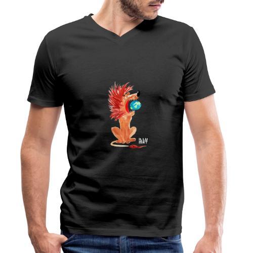 Ale 0004 00 Loewe der die Welt beherrscht - Männer Bio-T-Shirt mit V-Ausschnitt von Stanley & Stella