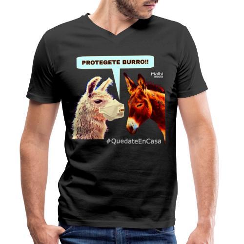 PROTEGETE BURRO - Camiseta ecológica hombre con cuello de pico de Stanley & Stella