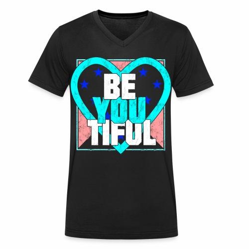 BeYouTiful Beautiful Herz verzerrt Geschenkideen - Männer Bio-T-Shirt mit V-Ausschnitt von Stanley & Stella
