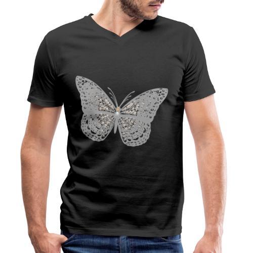 Süßer Schmetterling mit filigranen Totenköpfen - Männer Bio-T-Shirt mit V-Ausschnitt von Stanley & Stella