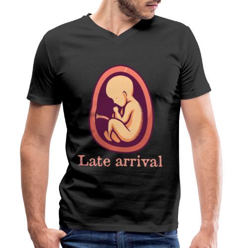 Schwanger - Late arrival - Männer Bio-T-Shirt mit V-Ausschnitt von Stanley & Stella