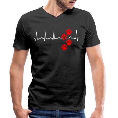 Herz Schlag Hundepfoten Herz Rhythmus Beat Liebe - Männer Bio-T-Shirt mit V-Ausschnitt von Stanley & Stella