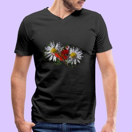 zwei Gänseblümchen mit einem Schmetterling - Männer Bio-T-Shirt mit V-Ausschnitt von Stanley & Stella