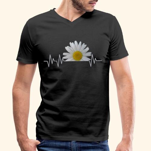 Margerite, Herzschlag, Gänseblümchen, Pulsschlag - Männer Bio-T-Shirt mit V-Ausschnitt von Stanley & Stella